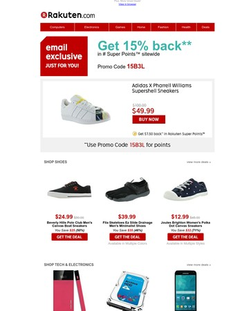 $49.99 Adidas X Pharrell Williams Sneakers | $39.99 Fila Skeletoes Men's Minimalist Shoes | $57.59 Seagate Barracuda 1TB Internal Hard Drive