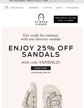 Hurry! 25% Off Sandals Ends Today