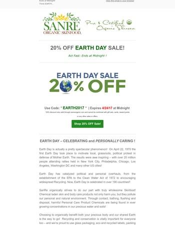 Final Day! 20% Earth Day Savings!