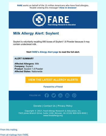 Milk Allergy Alerts: Soylent