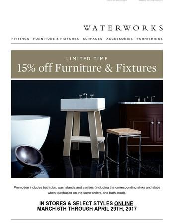 Final Days: 15% off Bath Furniture & Fixtures