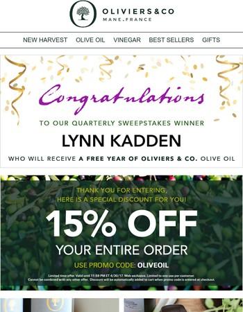Lynn Kadden won a year of Oliviers & Co. Oil