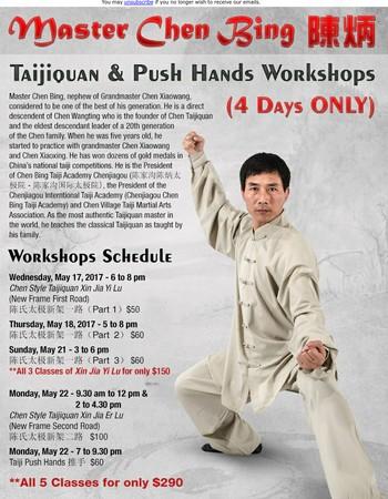 Master Chen Bing Taijiquan and Push Hands Workshop!
