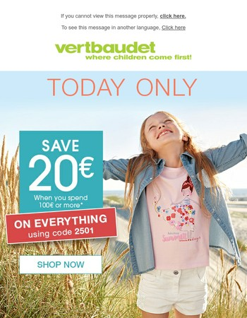Today's Special > Save 20€ when you spend 100€