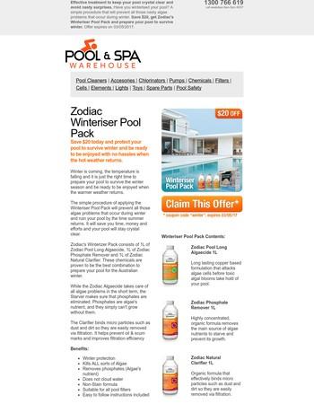 ----, $20 Off Zodiac Winteriser Pool Pack (Expires 3/5/2017)