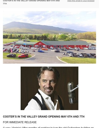 Join us May 6th for Cooter's Luray, Virginia Grand Opening