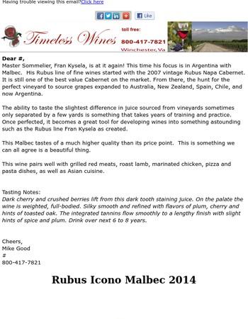 Rubus Icono Malbec by Master Sommelier Fran Kysela