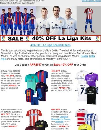 40% OFF 2016/17 Spanish La Liga Football Kits + Extra Discount Code