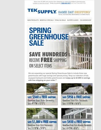 Spring Greenhouse Sale - Free shipping & savings