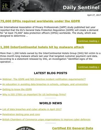 75,000 DPOs required worldwide under the GDPR