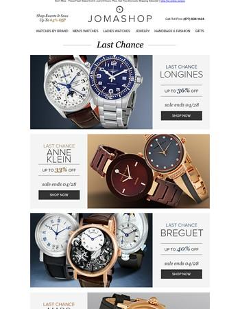 FINAL HOURS: Breguet • Longines • Anne Klein • Marc Jacobs • Designer Apparel Clearance