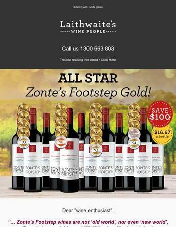 SAVE $100 on Zonte's Gold-medal Reds