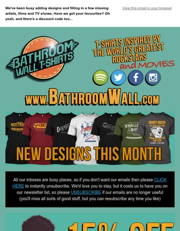 Have you seen the new designs at BathroomWall T-shirts? Have we got your favourites covered?