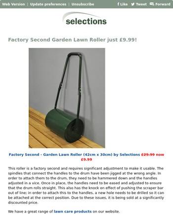 Factory Second Garden Lawn Roller just £9.99!