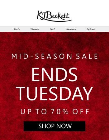 SALE ENDS TUESDAY! Shop now!