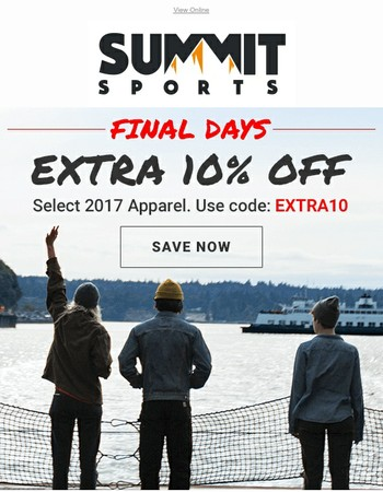 Final Days | EXTRA 10% OFF