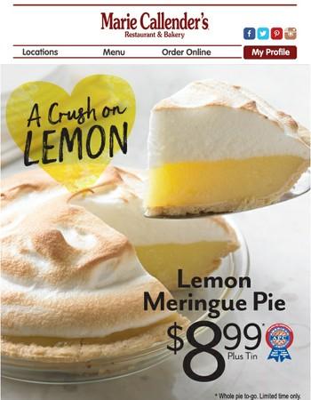 Special Price Ends on Sunday! Lemon Meringue Pie - Just $8.99!