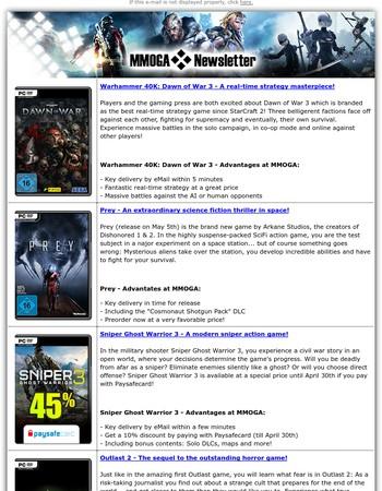 MMOGA - Dawn of War 3! Prey preorder! 45% paysafecard Sniper GW 3 deal! Outlast 2!