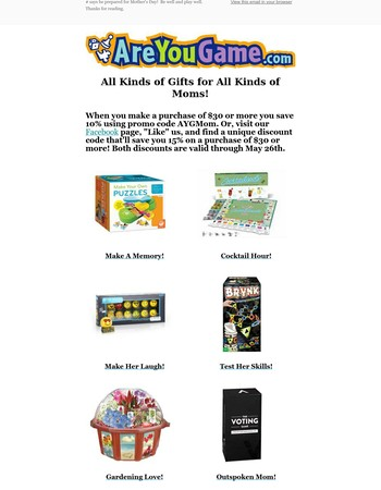Mother's Day Suggestions from AreYouGame.com!