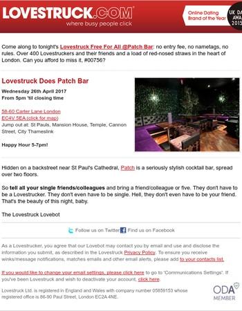 Tonight: Lovestruck Does Patch Bar!