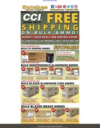 Free Shipping on Bulk CCI and Blazer Ammo Ends Soon!