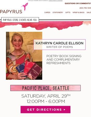 In-Store Artist Event: Writer & Poet, Kathryn Carole Ellison