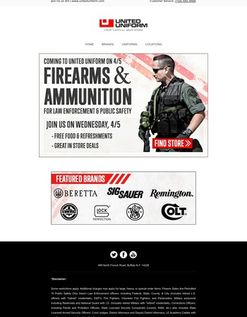 Coming to United Uniform on 4/5: Firearms and Ammunition