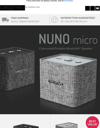 Up to 60% off the Creative NUNO micro Portable Bluetooth Speaker!