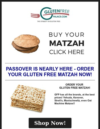Don't Get Passed Over - Order your Gluten Free Matzo Today!