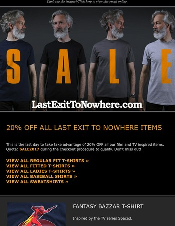 20% OFF ALL LAST EXIT TO NOWHERE ITEMS