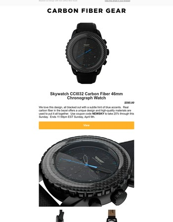 Discover the new carbon fiber Skywatch, 20% off through Sunday