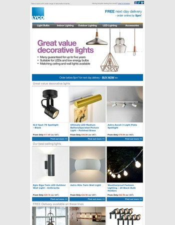 Need decorative lights?  Delivered next day?