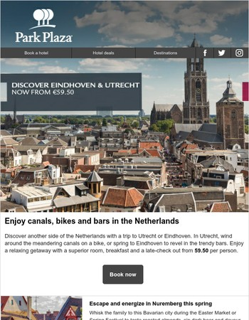 Utrecht & Eindhoven from €59.50 | Free breakfast in Nuremberg | London £99