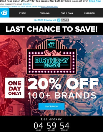 ONLY HOURS LEFT! 20% off 100+ Brands