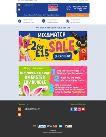 2 For £15 Sale & Easter Competition Are Here!