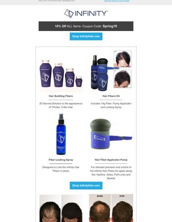 Save 10% on Infinity Hair Fibers Today!