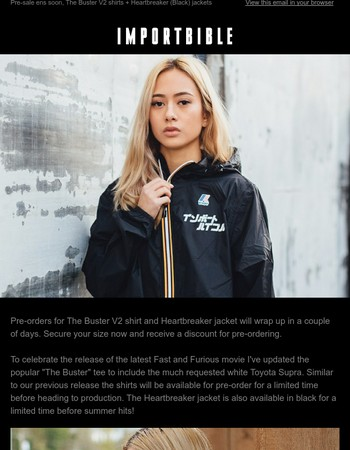 Pre-sale ens soon, The Buster V2 shirts + Heartbreaker (Black) jackets