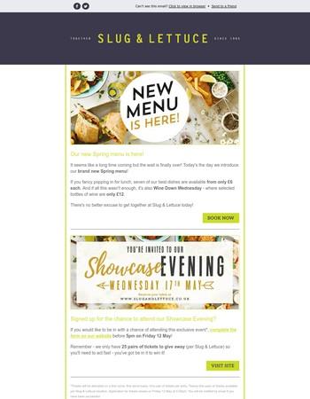 The Slug and Lettuce Newsletter