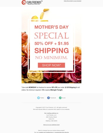 Mother's Day Special Ends Today. 50% Off + $1.95 Shipping.