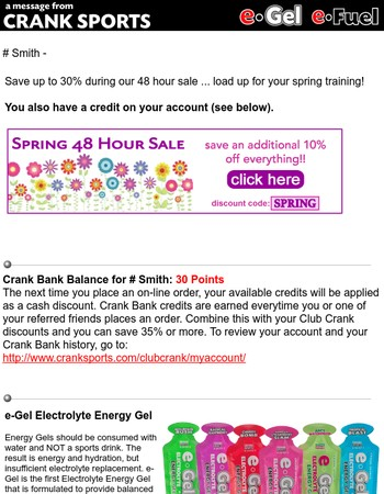 48 Hour Sale ... save up to 30% on e-Gel and e-Fuel