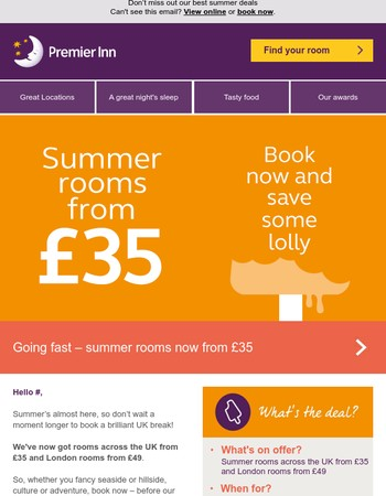 Summer rooms now from £35