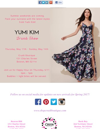 This weekend only! Shop our Yumi Kim Trunk Show!