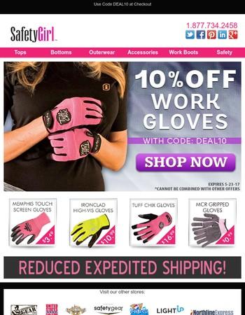 10% Off ALL Work Gloves!