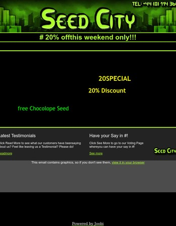 Seed City 20% off this Weekend!!!