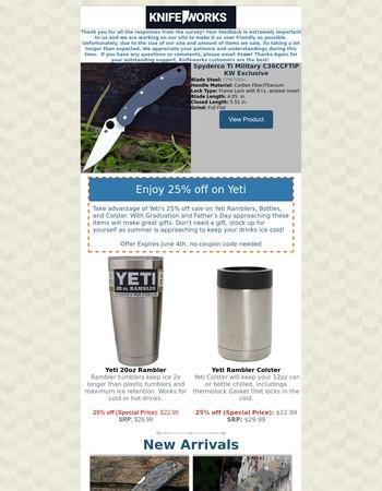 Shop Yeti 25% Off Sale, New Arrivals, etc.
