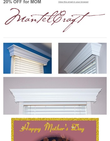 Invitation to SAVE 20% Off Window Cornices May 12 through May 15!
