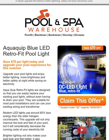 ----, $70 Off Aquaquip QC LED Pool Light (Expires 19/05/2017)