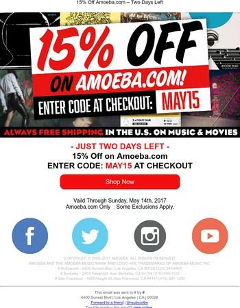 15% Off On Amoeba.com — Two Days Left