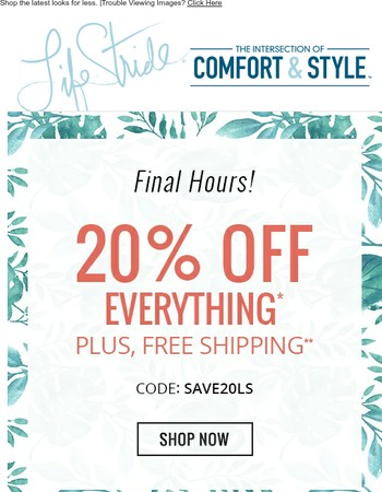 This is it. 20% off + Free shipping ends tonight!