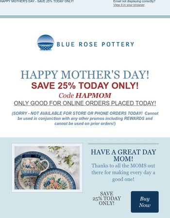 HAPPY MOTHER'S DAY - 25%  OFF TODAY ONLY - Blue Rose Pottery